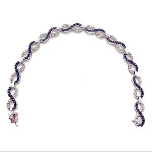 Blue & White Diamond Infinity 925 Silver Bracelet
